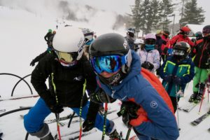 Hannah and Evan in the lift line at Willard